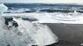Playa del negro del glaciar del hielo almacen de video