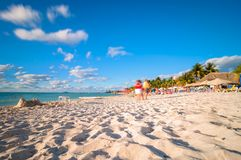 Playa del Norte strand i Isla Mujeres, Mexico Arkivfoton