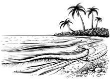 Playa del océano o del mar con las palmas y las ondas, bosquejo Ejemplo blanco y negro del vector Imágenes de archivo libres de regalías