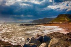 Playa del oeste de la bahía, costa de Dorset Fotos de archivo