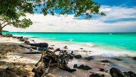 Playa del paraíso del blanca de Playa por Baru en Colombia fotos de archivo libres de regalías