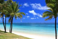 Playa del paraíso en la isla de Isla Mauricio Imagenes de archivo