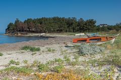 Playa del pueblo de Sozopoli, Chalkidiki, Macedonia central, Grecia fotografía de archivo libre de regalías