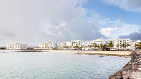 Playa Del Reducto. A view of Playa Del Reducto in Arrecife.  Arrecife is the capital of Lanzarote one of the Spanish Canary Islands Royalty Free Stock Photo