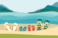 Playa del verano con chancletas del color Vacaciones de verano de la familia stock de ilustración