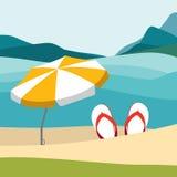 Playa del verano con chancletas del color y el paraguas rojo Ejemplo plano del diseño del verano libre illustration