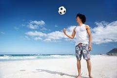 Playa del verano del fútbol Fotografía de archivo