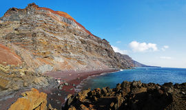 Playa del Verodal on Hierro, Canary. Red sand beach - Playa del Verodal on Hierro, Canary Islands, Spain stock images