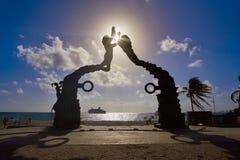 Playa delCarmen Portal Maya skulptur arkivbild