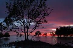 Playa durante puesta del sol Imagen de archivo libre de regalías