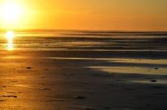 Playa El Espino och solnedgång, El Salvador Arkivbilder