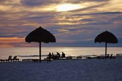 Playa el Golfo de México de ciudad de Panamá cerca de la puesta del sol pintoresca imagen de archivo libre de regalías