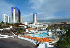 Playa El Pinque and Hard Rock hotel complex royalty free stock photography