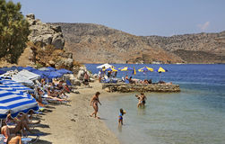 Playa en Ano Symi Grecia Imágenes de archivo libres de regalías