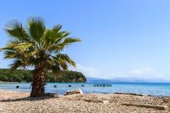 Playa en Corfú Fotos de archivo libres de regalías