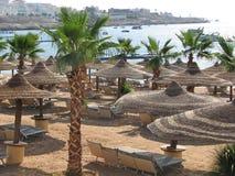 Playa en Egipto Playa del centro turístico Fotografía de archivo