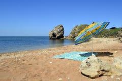 Playa en el mar de Azov Imagenes de archivo