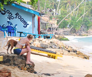 Playa en Hikkaduwa, Sri Lanka Foto de archivo libre de regalías