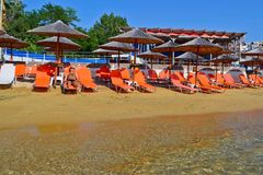 Playa en Kavala, Grecia Fotografía de archivo libre de regalías