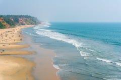 Playa en la India - playa principal de Varkala Fotos de archivo libres de regalías