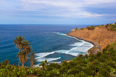 Playa en la isla de Puerto de la Cruz - de Tenerife (canario) fotografía de archivo