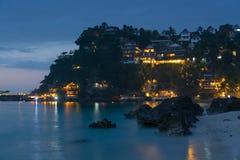 Playa en la noche, Boracay, Filipinas de Dinivid Foto de archivo