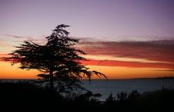 Playa en la puesta del sol fotos de archivo libres de regalías
