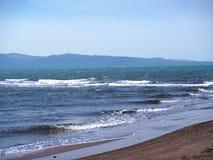 Playa en la reserva de naturaleza en Skala Kalloni Lesvos Grecia Foto de archivo libre de regalías
