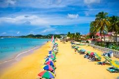 Playa en la Santa Lucía, islas caribeñas Fotos de archivo