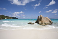 Playa en Praslin Fotografía de archivo