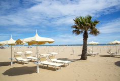 Playa en Rímini, Italia Imagen de archivo