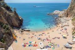 Playa en Tossa de Mrz Costa Brava, Espa?a Fotos de archivo libres de regalías