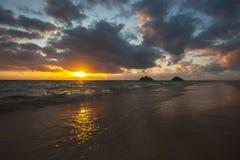 Playa escénica hermosa Oahu Hawaii de Lanikai imagen de archivo