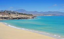 Playa Esmeralda在费埃特文图拉岛 图库摄影