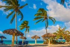Playa Esmeralda, Holguin, Cuba. Caribbean sea. Tropical beach in Sunny weather. Playa Esmeralda, Holguin, Cuba. Caribbean sea. Tropical beach with palm trees in royalty free stock image