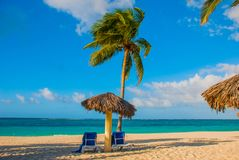 Playa Esmeralda, Holguin, Cuba. Caribbean sea: two sun loungers, umbrella, palm tree on the beach, on the background of the turquo. Ise-blue ocean, sunny royalty free stock image