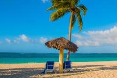 Playa Esmeralda, Holguin, Cuba. Caribbean sea: two sun loungers, umbrella, palm tree on the beach, on the background of the turquo. Ise-blue ocean, sunny royalty free stock photo