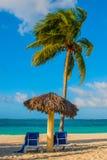 Playa Esmeralda, Holguin, Cuba. Caribbean sea: two sun loungers, umbrella, palm tree on the beach, on the background of the turquo. Ise-blue ocean, sunny stock photography