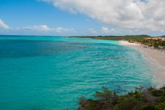 Playa Esmeralda in Holguin, Cuba. The view from the top of the beach. Beautiful Caribbean sea turquoise. Playa Esmeralda in Holguin, Cuba. The view from the top royalty free stock photography