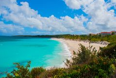 Playa Esmeralda in Holguin, Cuba. The view from the top of the beach. Beautiful Caribbean sea turquoise. Playa Esmeralda in Holguin, Cuba. The view from the top royalty free stock images