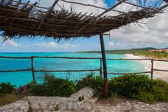 Playa Esmeralda in Holguin, Cuba. The view from the top of the beach. Beautiful Caribbean sea turquoise. Playa Esmeralda in Holguin, Cuba. The view from the top stock photos
