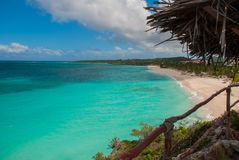 Playa Esmeralda in Holguin, Cuba. The view from the top of the beach. Beautiful Caribbean sea turquoise. Playa Esmeralda in Holguin, Cuba. The view from the top royalty free stock photo
