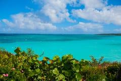 Playa Esmeralda, Holguin, Kuba: Härligt landskap med turkosen för karibiskt hav royaltyfria foton