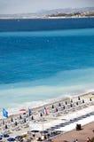 Playa francesa de riviera Niza Francia famosa Fotos de archivo libres de regalías