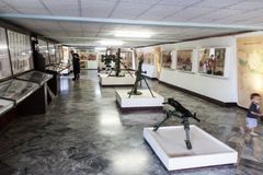 PLAYA GIRON, CUBA - FEB 14, 2016: Weapons in a rmuseum dedicated to the failed 1961 Bay of Pigs invasion in Playa Giron royalty free stock image