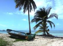 Playa grande del barco del panga de la pesca de Nicaragua de la isla de maíz con el coc de la palma fotografía de archivo libre de regalías