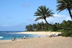 Playa Hawaii de la puesta del sol Imágenes de archivo libres de regalías