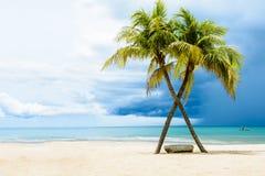 Playa hermosa con las palmas Imagen de archivo libre de regalías