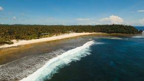 Playa hermosa de la visión aérea en una isla tropical Filipinas, Siargao almacen de video