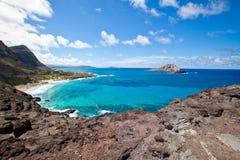 Playa hermosa de Makapu'u en Hawaii Imagen de archivo libre de regalías